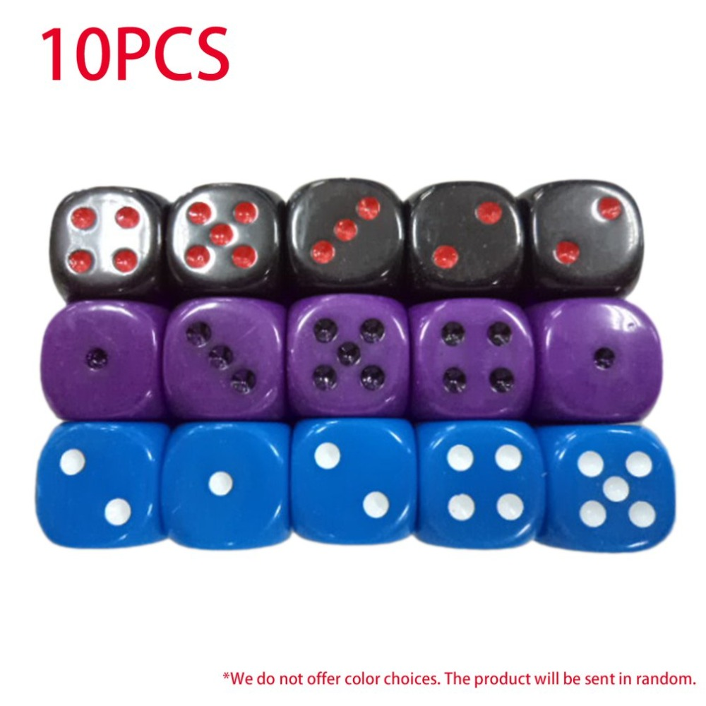 10Pcs/set Creative Colored Acrylic Dice Six Sided Dice Club Pub Party Game Toys Smooth Edge Dice for Children Adults