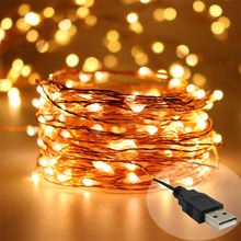 USB LED String Lights,10M 100LED 5V 33FT Warm White/Multi-color Copper Wire Fairy Starry Decorative Lights for Holiday Wedding(China)