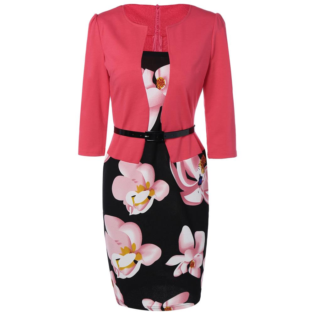 VESTLINDA Pencil Office Dress 5 Colors Plus Size Jacket Look Floral Print Women Vestidos Mujer Jurken Robe Slim Bodycon Dresses 2