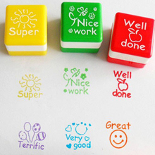 6Pcs/lot Kid Cartoon Wood Stamp Toy  English Teacher Homework Encourage Reviews Clear Stamp Best For scrapbooking