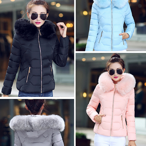 New Arrival Women Fashion Warm Solid Color Slim Thick Large Fluffy Collar Down CoatОдежда и ак�е��уары<br><br><br>Aliexpress