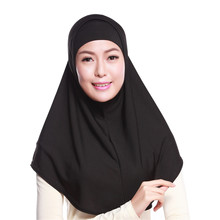 Solid Color Womens 2 Pieces Muslim Hijab Islamic Women Scarf with More Colors(China)