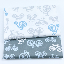 100% cotton twill cloth cartoon white gray bicycle bike fabric for DIY crib bedding cushions quilting handwork decoration tela(China)