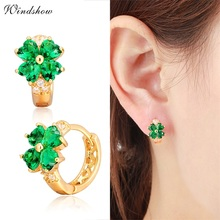 Yellow Gold Color Luck Four Leaf Clover Heart Cut CZ Gemstones huggies Hoop Earrings Jewelry For Girls Baby Kids Women(China)