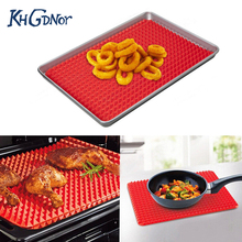 Microwave Oven Roasting Mat Red Pyramid Pan Silicone Non Stick Reducing BBQ Mat Kitchen Baking Tray Sheet Cooking Pad(China)