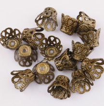 Wholesale Gold Wine Flower Metal Silver Bead Caps Jewelry Accesories 6mm 9mm for Jewelry Making(China)