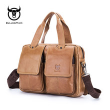 BULL CAPTAIN 2017 New Arrival Genuine Leather Bags For Men Wax Leather Shoulder Bag Satchel Briefcase Portfolio Men's Bag 042(China)