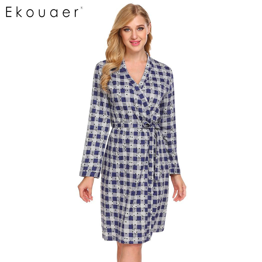 Ekouaer Women Kimono Robes Sleepwear 100% Cotton Bathrobe Plaid Print Long Sleeve Soft Spa Robes Dressing Gown Nightwear