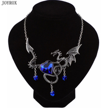 JOYROX Personality Vintage Dragon Necklace Statement Jewelry 2017 Creative Design Blue Red Crystal Heart Necklace For Women