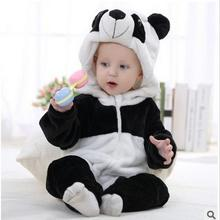 Newborn Infant Romper Baby Costume Animal Panda Long Sleeve Flannel Hooded Baby Jumpsuit fashion suit  Baby Romper Suit Clothes