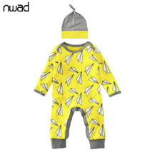 Newborn Baby Romper 2017 Fashion Paper Airplane Spring Jumpsuit For Baby Boy Girl Toddler Long Sleeve Rompers With A Cap FF284