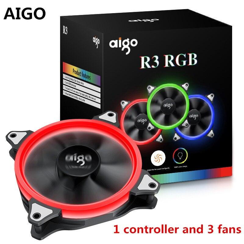 Aigo R3  Computer Case Cooling Fan  LED Fan Cooling RGB 120 mm Low Noise High Airflow Adjustable Colour fans<br>
