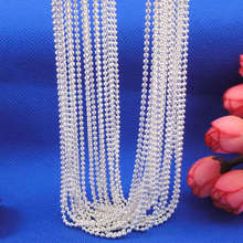 "Wholesale 10pcs/lot Fashion Silver Necklace Chains,1mm Silver Rould Ball Beads Chain Necklace For Women 16""-30"",pick length!(China)"