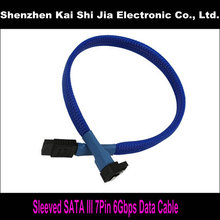 "18"" New Blue Sleeved SATA III 6Gbps 7Pin Right Angle to Straight cable for Hard Drive Disk"