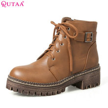 QUTAA 2018 Women Ankle Boots Lace Up 패션 Round Toe Westrn Style 봄/가 스퀘어 (times square) 힐 숙 녀 Motorcycle Boots size 34-43(China)