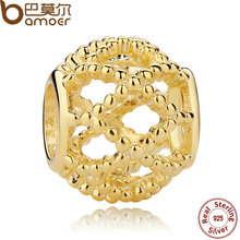 BAMOER New Hot 925 Sterling Silver Charms Wanderlust, Gold Charm for Women Bracelet Necklace Accessories PAS107(China)