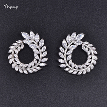Mchic Luxury High Grade CZ Garland Olive Branch Cubic Zirconia Stud Earrings Female Trendy Basics Brand Earrings Brincos Gift(China)