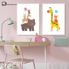 Beer Giraffe Fox Animal Poster Prints Minimalist Wall Art Canvas Painting Cartoon Nursery Picture Baby Living Room Decoration
