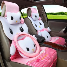 2017NEW 3D Hello Kitty Car Seat Covers Cartoon Universal Car Seat Covers for All Seasons car interior Accessories+steering wheel(China)