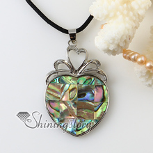 patchwork heart rainbow abalone oyster shell silver plated necklaces pendants 2013 cheap handmade jewelry