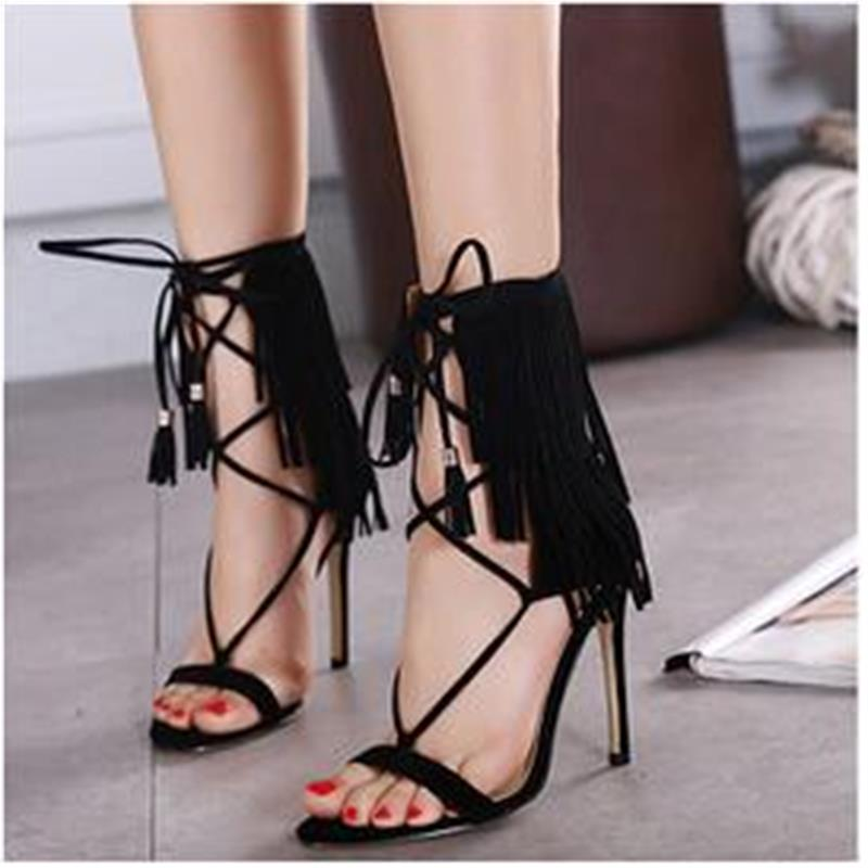 2017 New Fashion Valentine Pumps Whims Tassels Cross Straps Roman Style High Heels Stiletto Shoes Gladiator Sandals<br><br>Aliexpress