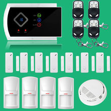 Free shipping!! App Controlled Wireless GSM Home Security Fire Alarm System+7 door sensor+4 PIR+ Smoke Sensor CE