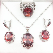 Sparkling Red Garnet Jewelry Sets For Women Necklace & Pendant Earrings 925 Silver Rings Gift Jewelry