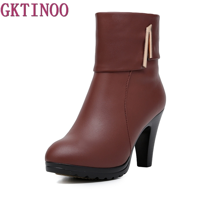 New Fashion Warm Fur Women Shoes Winter Ankle Boots Genuine Leather Shoes Woman High Heel Boots Winter Snow Boots<br>