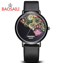 BAOSAILI Top Brand Flower Face Design Gold Plating Case Series Watch Simple Cartoon WatchesFashion Women Quartz Watch BS-1011(China)