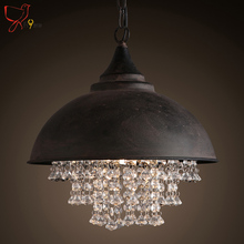 American country retro metal suspension lamp industrial pot cover luxury crystal pendant light for living room hotel bar light