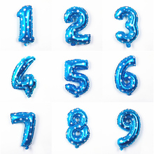 30cm Large Blue Aluminum Foil Number Balloon 1 2 3 4 5 6 7 digit air balloons Evening Birthday day Party figure Star airballoon(China)