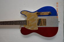 Free shipping Metallic sliver color TL electric guitar Golden pickguard design Quality hardwares