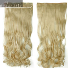 "18-28"" inches Curly Wavy Hair Piece 3/4 Full head Clip in Hair Extensions 5 Clips on Hair Extentions Real Synthetic"