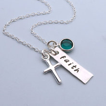 Faith Crystal Necklace Hand Stamped Silver Cross pendant Necklace can shoode crystal colrs for gift LQ0032
