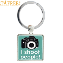 TAFREE Camera square keychain men women Photographer jewelry I Shoot People Photography pendant key chain ring holder AA65