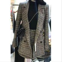 2019 houndstooth plaid winter 봄 women's 한 벌 jacket skirt 두 sets 우아한 공식적인 warm coat jacket 탑 와 skirt 한 벌(China)