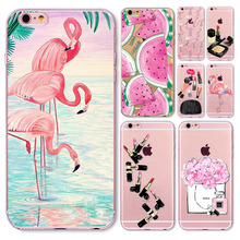Novelty Fundas Phone Case Cover For Apple iPhone 6 6S Fruit Perfume Bottle Flamingo Silicon Transparent Coque Capa Celular