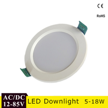 AC/DC 12V 24V Led Downlight 18W 15W 12W 9W Aluminum Bombillas Round Led Ceiling Recessed Grid Down Light 36V 50V Led Light(China)