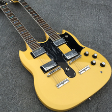 Best Guitar Double Neck 1275 model Electric guitar 6 string+12 string Combo, Yellow Color, Jimmy Page 1275 double necks guitar