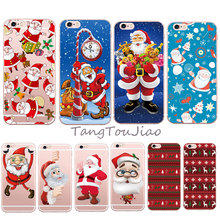 Cute New Santa Claus Merry Christmas Case For iPhone 6 6S 6 Plus 6s Plus 5 5S SE 7 7 Plus Transparent Silicone Phone Back Cover