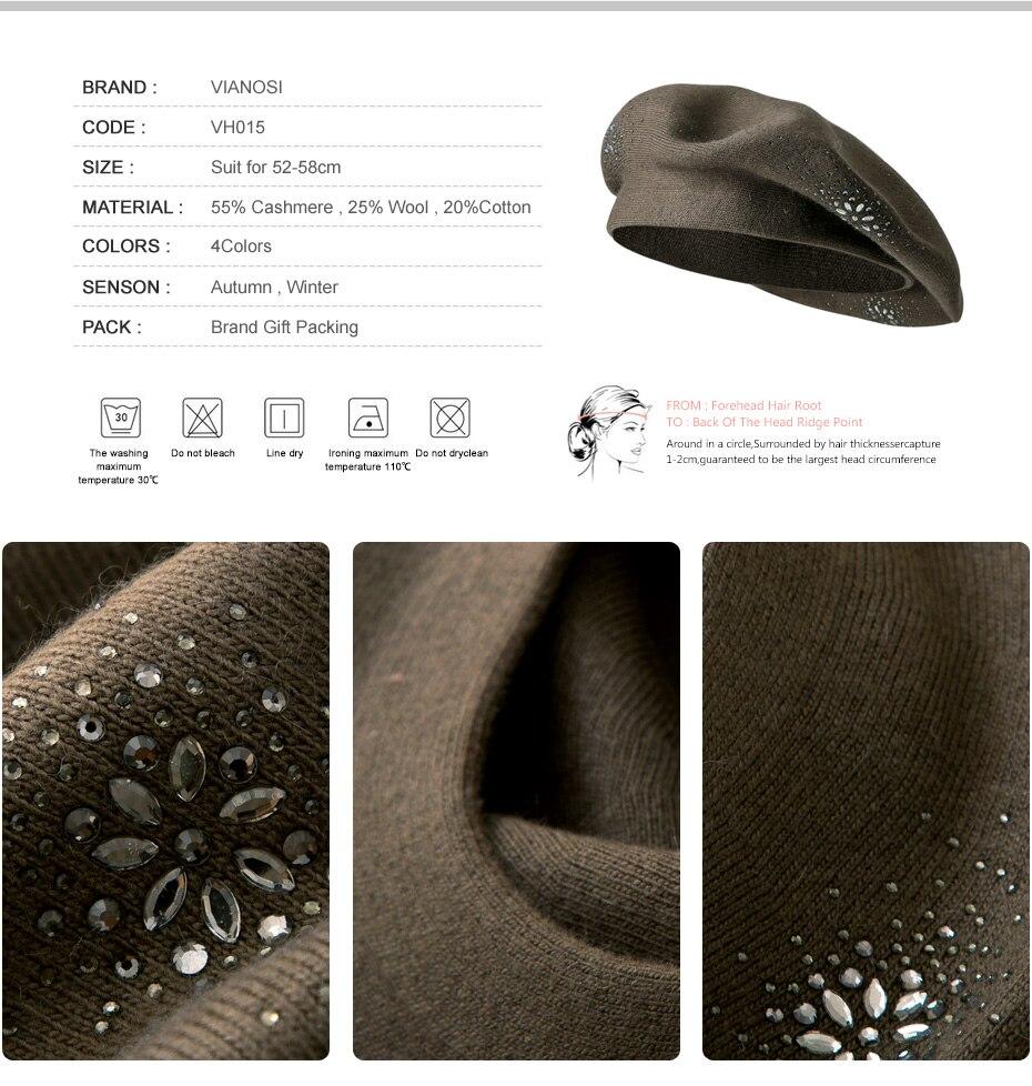 VIANOSI Wool Beret Female Winter Hats For Women Flat Cap Knit Cashmere Hats Lady Girl Berets Hat Female 2
