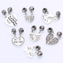 Tibetan Silver Metal Letter Best Friend Beads Fit Pandora Charms Diy Best Friend Charms Wholesale 7set/lot BC8806