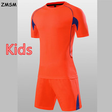 Kids Football uniform 2017 Breathable Sportswear Slim Short sleeve Children Soccer Jerseys Kit survetement football QD601(China)