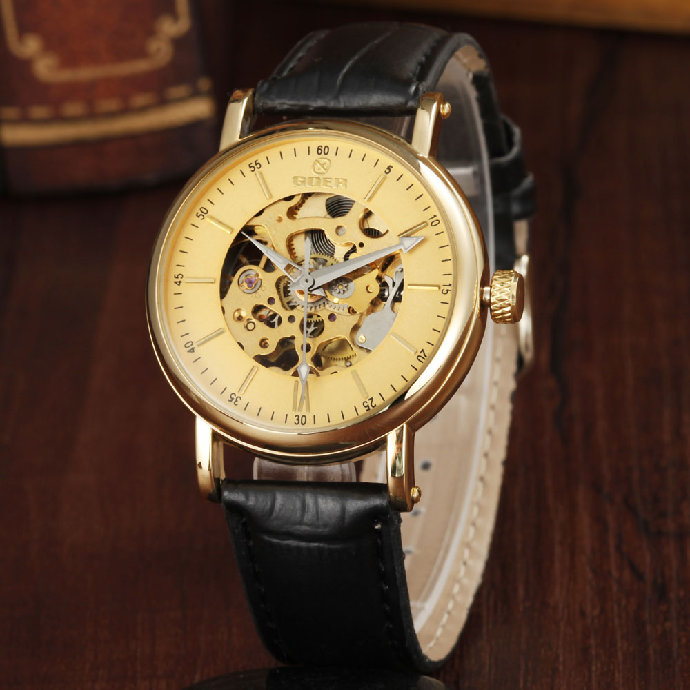GOER Mens Mechanical Watches Top Brand Luxury Gold Skeleton Automatic Mechanical Wrist Watches For Men Casual Men Wristwatch<br><br>Aliexpress