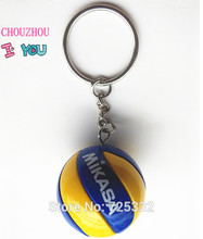 Sport Beach Volleyball PVC 3.7 cm Keychain key ring birthday gifts four style(China)