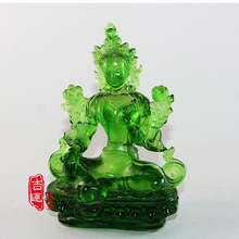 Genuine coloured glaze, azure stone Tantra, Green Tara, Buddha Temple, ornaments, Tibetan Buddhism statue, figurine, buddhist(China)