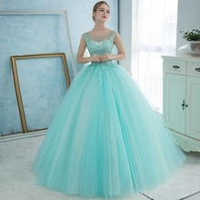 2016 Sweet Ice Blue Sleeveless Soft Tulle Dress Lace Up Stage Singer Performance Ball Gown