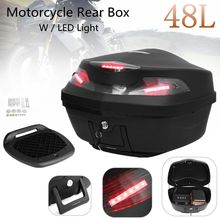 48L Motorcycle Scooter Top Box Topbox Rear Luggage Storage W/LED Light Universal 56cm x 40cm x 37cm(China)