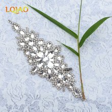 5pcs/lot Flower Popular New-Style Clear Crystal Rhinestone Applique Beaded Strass Trimmings Hotfix Motif for Garment Accessory