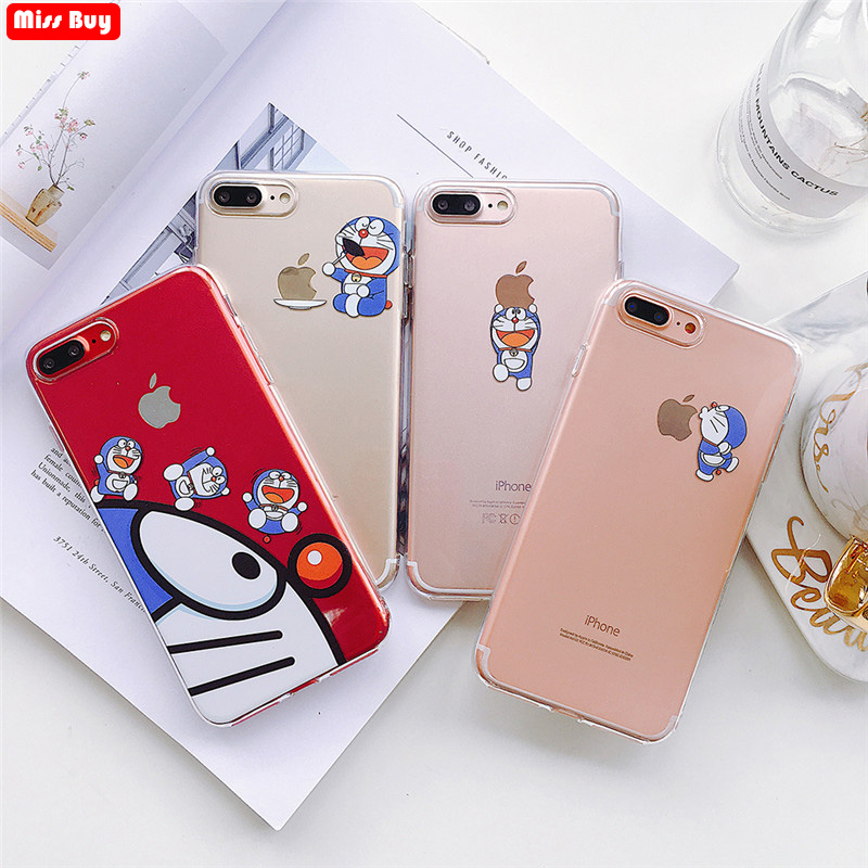 Funny Cute Doraemon Patterned Case for iPhone X 6 6s 7 8 Plus Xr Xs Max Capa Case Shockproof Anti-knock Transparent Soft Case(China)